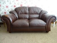 brown leather sofa 2 item's