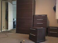 Bedroom wardrobe, draws & bedside table set