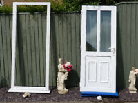 White uPVC Double Glazed Double Glass Panel Door with Step and Frame (