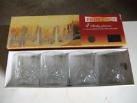 8 Lead crystal whisky glasses. Unused.