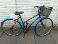 ladies dawes hybrid bike, front basket, new lights, d-lock ready to ride FREE DELIVERY