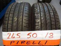 matching pair 245 50 18 pirelli r/flats 6mm tread £80 pair supp & fittd (LOADS MORE AV SUNDAY 5PM)
