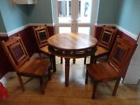 jali wooden dining table with 4 chairs