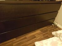Ikea brown /black drawers x3 blind & curtains