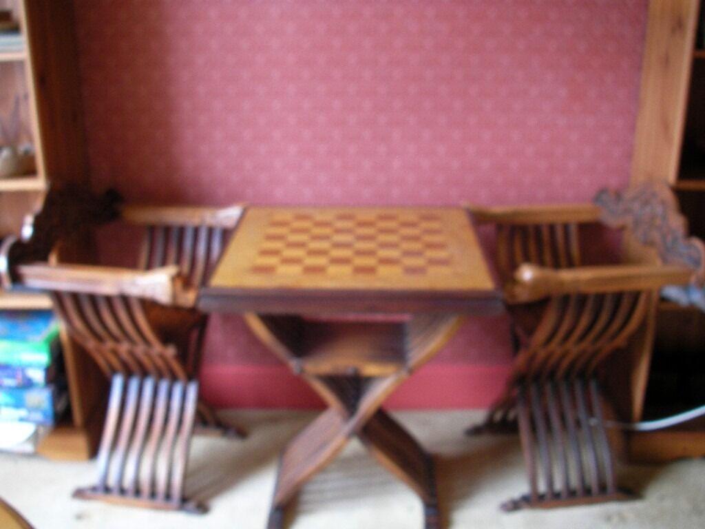 Chess Table Chairs Savonarola Style