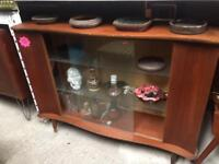 Vintage Retro teak wooden curved book case display glass TV Cabinet Sideboard 60s 70s