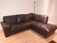 Large brown leather corner sofa, good condition