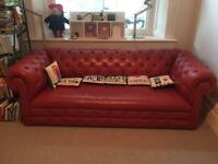 Habitat Red leather chesterfield sofa