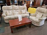 Cream patterned fabric 3 Seater Sofa with Matching Armchair