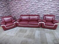 QUALITY EX DISPLAY SCS 'TAURUS' LEATHER 3 SEATER & 2 ARMCHAIRS IN BERRY & WHITE SETTEE/SUITE
