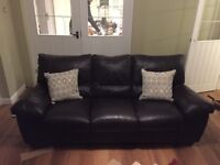 Two Genuine Leather Dark Brown Sofas (Glasswells)