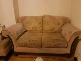 Shabby Chic Sofa with Large Matching Storage Footstool