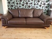 DFS Brown leather 2 and 3 seater sofa