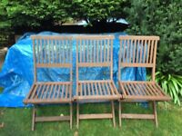 3 hardwood garden chairs