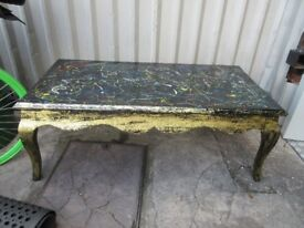 FUNKY RETRO ONE OF A KIND PAINT SPLASHED COFFEE TABLE!! ONLY £40!! ONE OFF!!!!!.