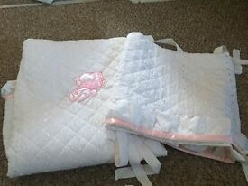 Pink and white cot bedding