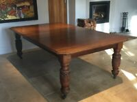 Large Antique Victorian Oak Wind Out Dining Table 3M Long: Seats 14