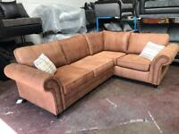 Brown Suede Leather Right and Left Hand Corner Sofa