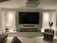 TV MEDIA FIRE WALL - KITCHEN FITTING - MDF WALL PANELLING - ALCOVE STORAGE/SHELVES