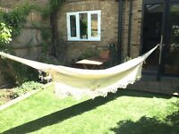 White Cotton Hammock Good Condition Ideal for Summer!