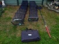 LEEDA 2XL TWO KEEPNETS MICROFLOW 2.5M&COMMERCIAL CARP 3M&LANDING NET AND POLE AND CARRY BAG