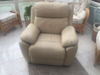 Leather Cream Reclining Chair