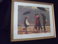 Jack Vettriano Prints x 3 all glazed with Vintage/Distressed Gold frames: all in excellent condition