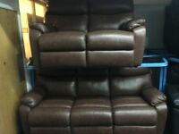 ScS New/Ex Display Brown Leather 3 + 2 Seater Sofas