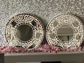 Two hand made tulip mosaic mirrors