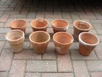 8 x Vintage Terracotta Clay Flower Pots Ceramic Pottery Plant Pot H 13cm x W 14cm