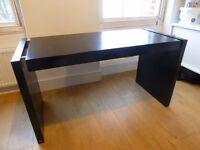 Dwell Desk/Dressing Table - Black/Brown wood grain veneer