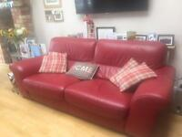 3 seater red leather sofa and chair