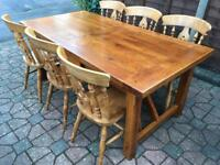 Solid oak 6x3ft refectory table and chair set . Delivery Possible