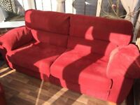 Free 3-seater sofa. Suede effect - red.