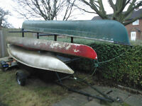 Canoe, kayak trailer with canoes