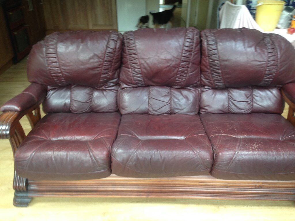 traditional wooden framed maroon leather 3 piece suite