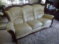 Leather Italian 3 seat Sofa settee FREE
