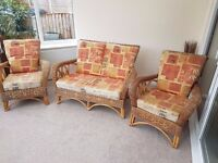Conservatory / Sun Lounge Furniture Set - 2 seater settee/sofa and 2 single arm chairs.