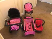 Dolls Pushchair, High Chair, Travel Cot & Car Seat