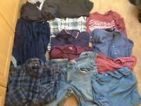 Bundles of clothes - 7 t-shirts, 2 shirts, 1 pair of jeans, 2 tracksuit bottoms
