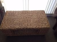 Light Woven Straw COFFEE TABLE and matching TABLE with STORAGE – SET OF 2 - BELFAST
