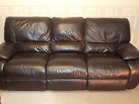 Sofa, large. Recliner Chair and Pouffe High grade black leather