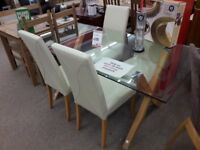 Square Glass Dining Table and 4 Cream Leather Chairs