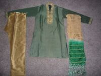 Boys green and beige Indian Suit (Sherwani suit) Age 8, in excellent condition, £10