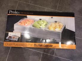 Dual Purpose 3 Pan Buffet Server hot plate