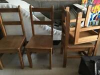 4 full wooden chairs and wooden table