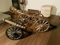 Antique vintage brass canons ornaments x 3
