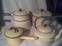 OLD ENAMEL CREAM & GREEN SAUCEPANS , MORE for DECORATION than to USE , a MIXED LOT £ 30 .