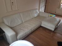 Cream Leather Corner Sofa - USED