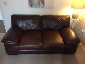 Soft leather 2 seater sofa and large seat